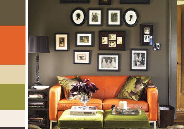 Luxury Green Orange Living Room Within Interior