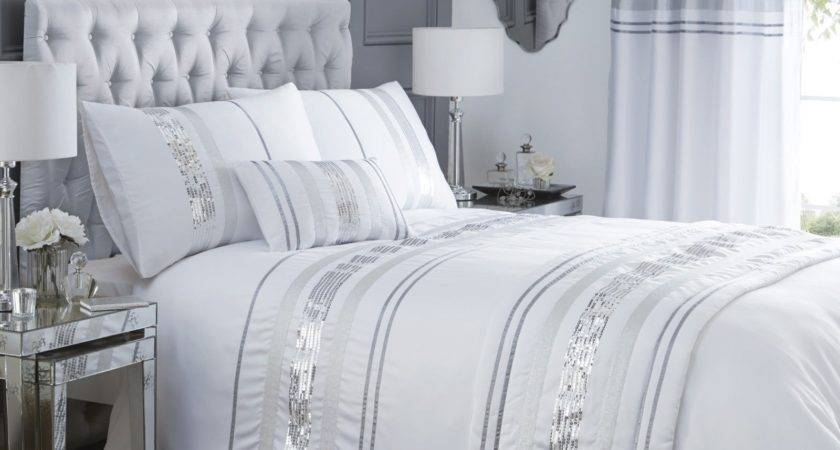 Luxury Sequin Glitter Stripe Duvet Quilt Cover Bedding Set