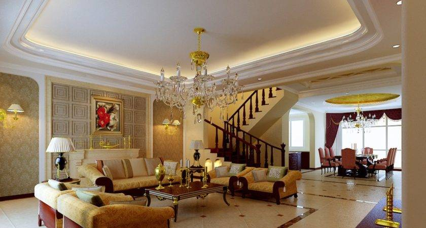 Luxury Villa Living Dining Room Ceiling Stairs
