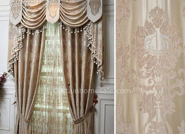 Luxuryvictorian Living Room Curtain Beige Color Without