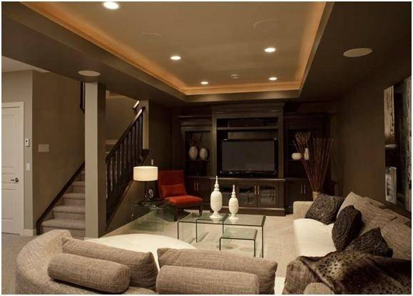 Man Cave Dark Brown Gray Walls Red Accents