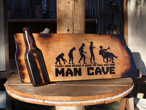 Man Cave Sign Pyrography Art Bar Wooden Beer Custom