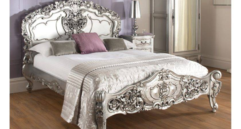 Marvelous Rochelle Silver Rococo Antique French Bed