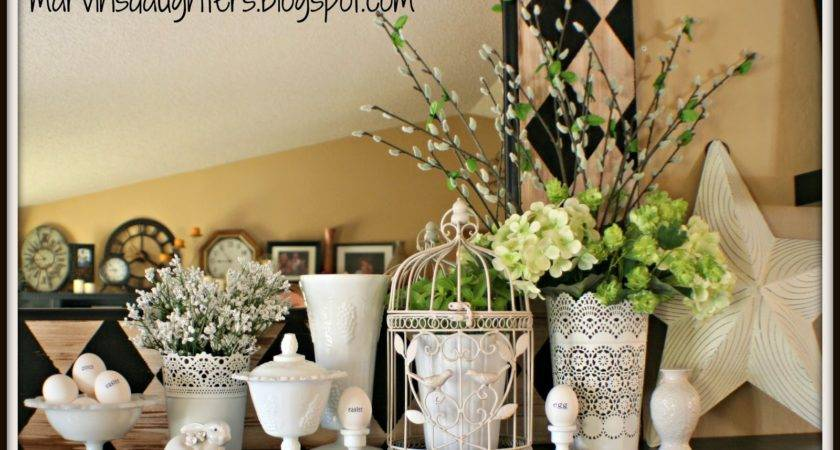 Marvinsdaughters Easter Spring Mantel Decor