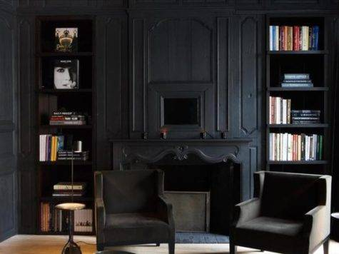 Matte Black Room Space Traditional Living