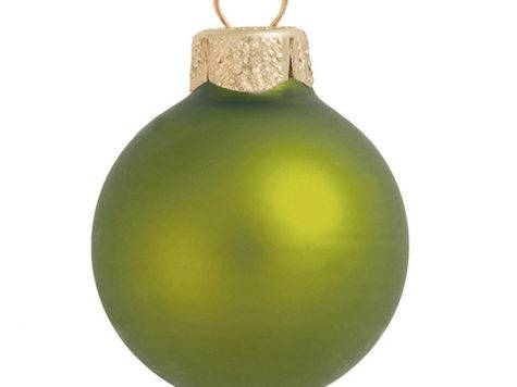 Matte Lime Green Glass Ball Christmas Ornaments