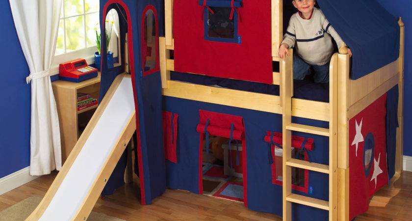 Maxtrix Kids King Castle Low Loft Bed Slide