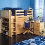 Maxtrix Kids Mid Loft Storage Bed Desk Natural