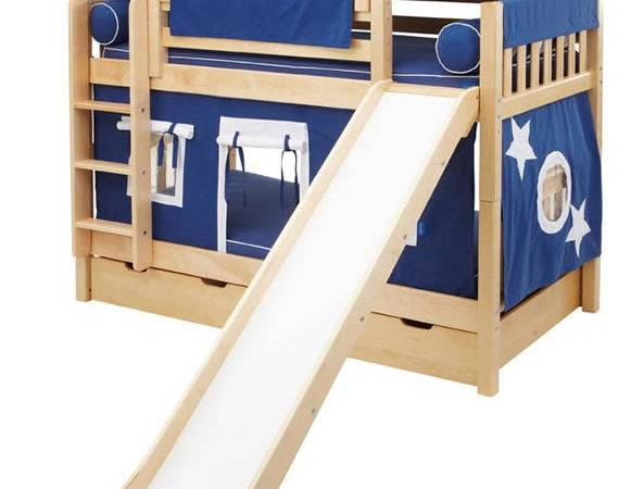 Maxtrix Playhouse Tent Bunk Bed Slide Blue White