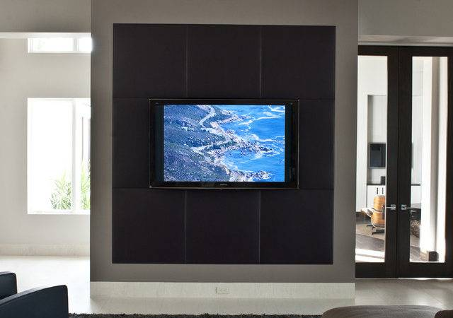 Media Wall Contemporary Home Theater Tampa