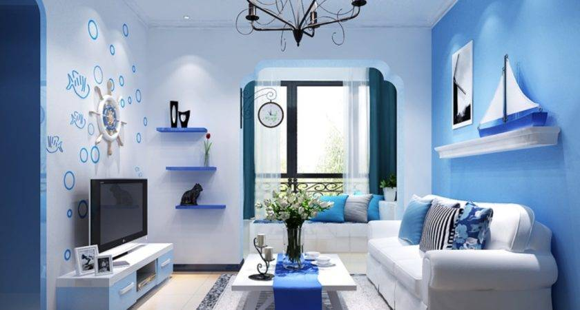 Mediterranean Style Rendering Blue Living Room Interior