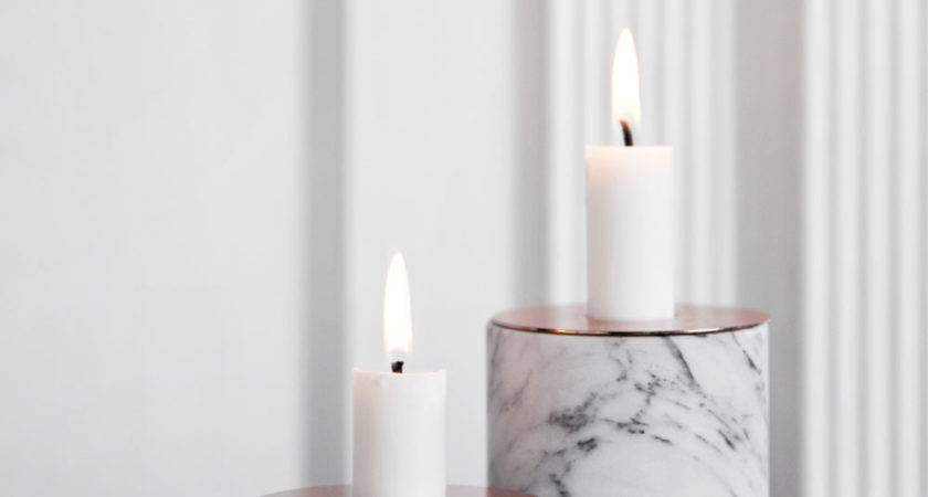 Menu Chunk Marble Large Copper Top Candle Holder