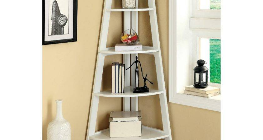 Merill Tier Ladder Corner Shelf White Bookcases