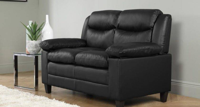 Metro Small Black Leather Seater Sofa Only