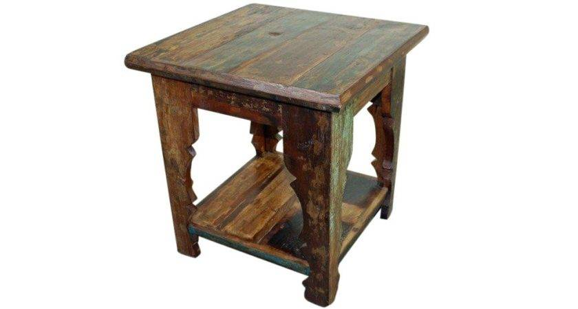 Mexicali Rustic Wood End Table Bedroom Furniture Mexican