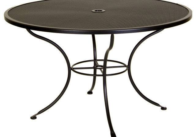 Micro Mesh Round Dining Table Umbrella Hole