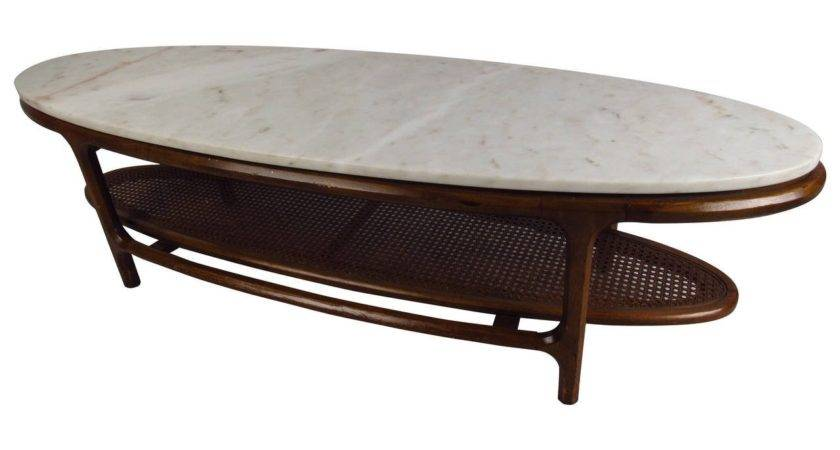 Mid Century Modern Marble Top Coffee Table Cane Shelf
