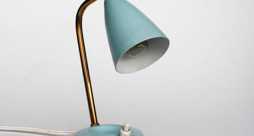 Midcetury Table Lamp Desk Bedside Light Blue