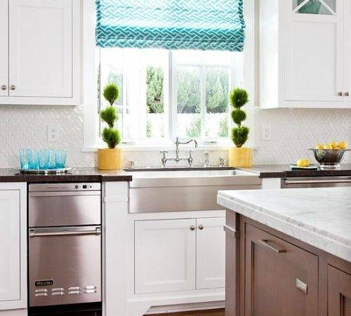 Mind Wanders Yellow Turquoise White Kitchen