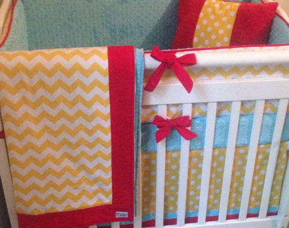Mini Crib Bedding Yellow Aqua Red