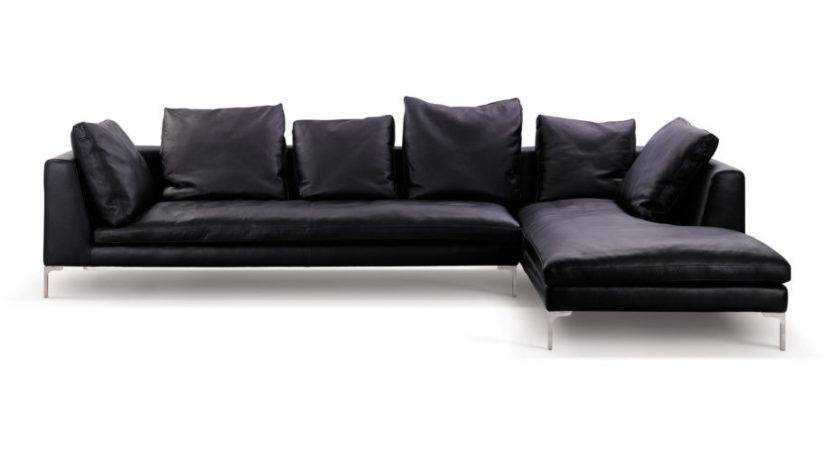 Minimalist Black Leather Sectional Couch Cushions