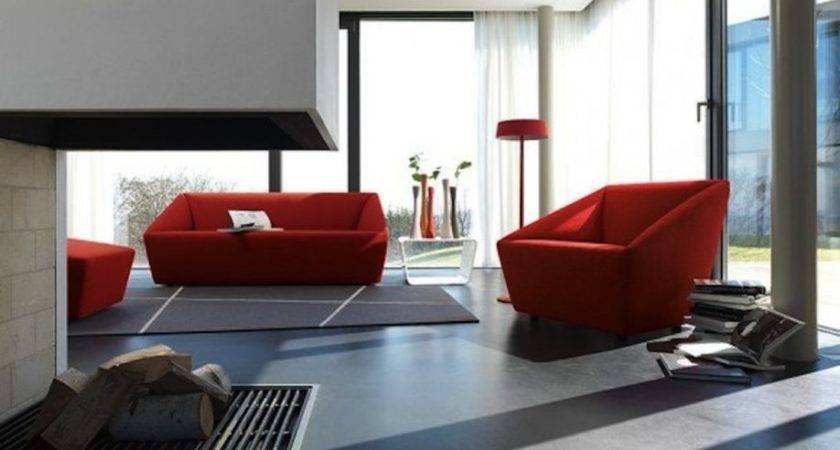 Minimalist Red Sofa Design Grey Living Room