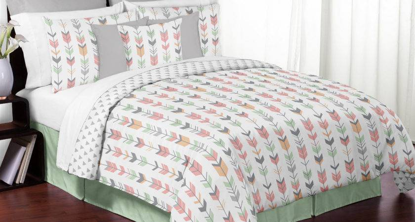 Mint Gray Coral White Queen Rustic Woodland Arrow Bed