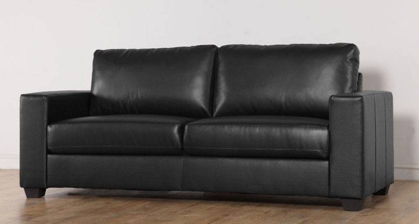 Mission Black Leather Seater Sofa Only