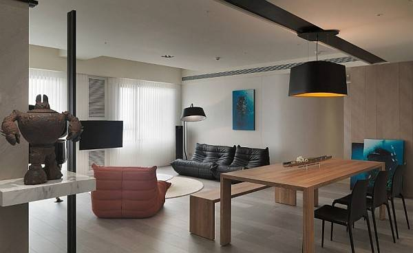 Modern Apartment Plan Neutral Colors Bold Accents
