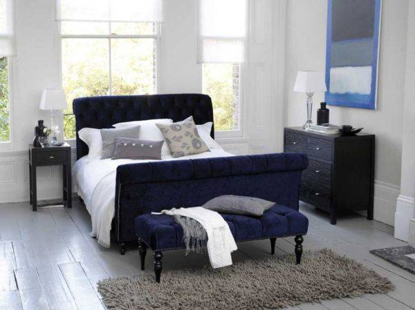 Modern Bedroom Dark Blue White Wellbx
