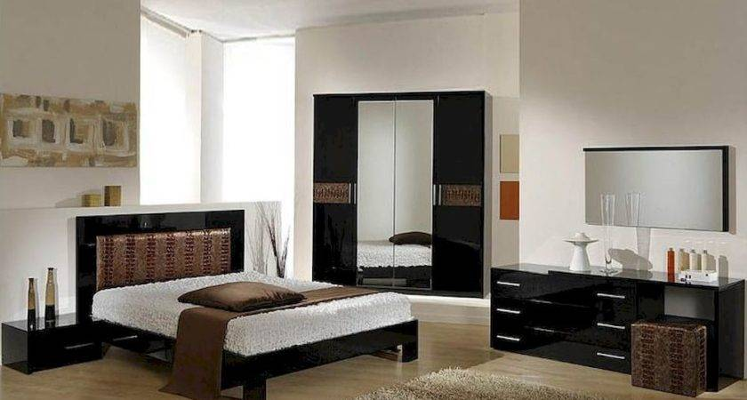 Modern Bedroom Set Black Brown Finish Made Italy