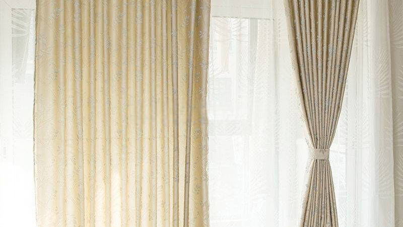 Modern Beige Colored Bedroom Curtains