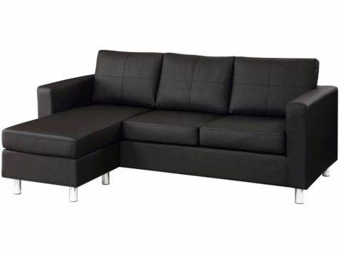 Modern Black Bonded Leather Small Sectional Sofa