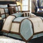 Modern Blue Brown Block Frame Bedding Comforter