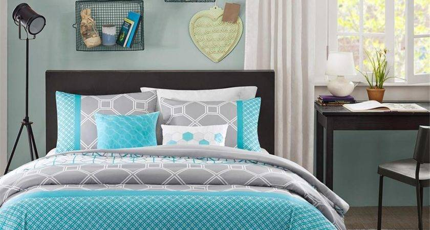 Modern Blue Grey Teal Aqua Chevron Stripe Boys Comforter