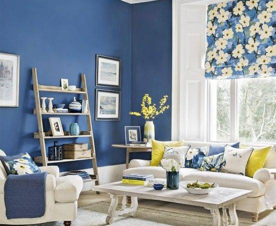 Modern Blue Living Room Forsythia Yellow Accents