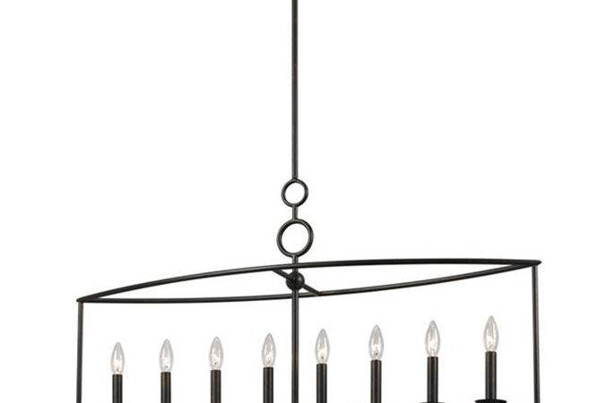 Modern Cage Wrought Iron Linear Chandelier Shades Light