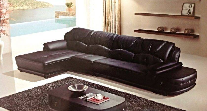 Modern Euro Black Leather Sectional Sofa Chaise Chair