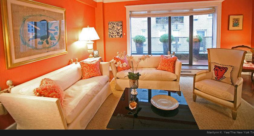 Modern Home Decor Interior Orange Color Painting