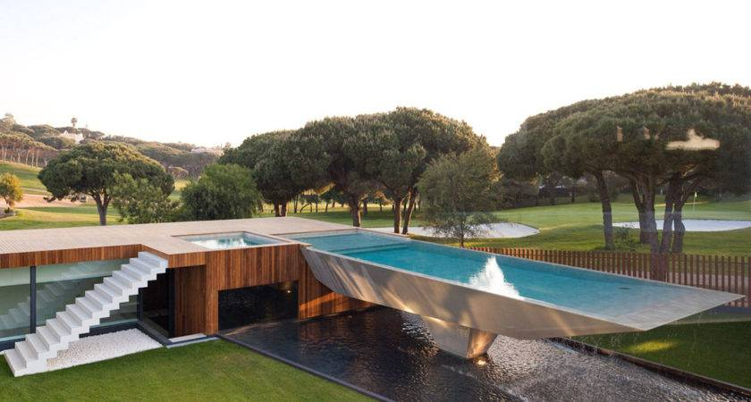 Modern Home Unique Suspended Pool Portugal