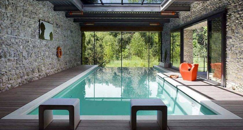Modern Indoor Swimming Pool Glass Roof Home