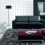 Modern Living Room Design Black Sofa Arch Lamp White