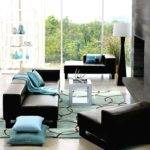 Modern Living Room Ideas Black Leather Sofa Curtain