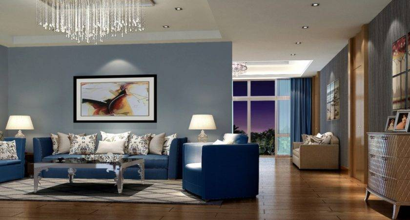 Modern Living Room Interior Decorating Ideas Blue