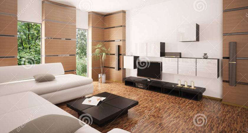 Modern Living Room Interior Render Illustration