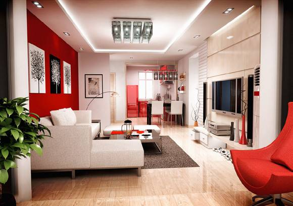 Modern Living Space Red White Black Colors Home