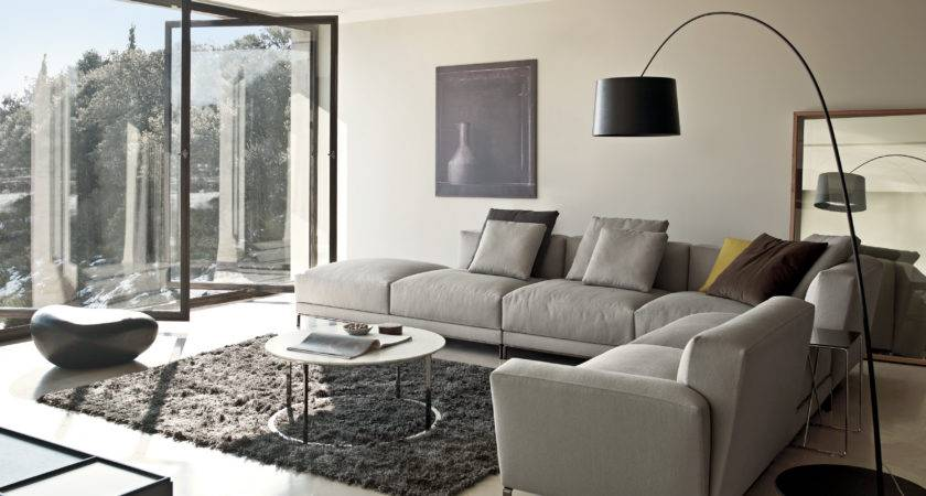 Modern Minimalist Living Room Design Grey Shaped