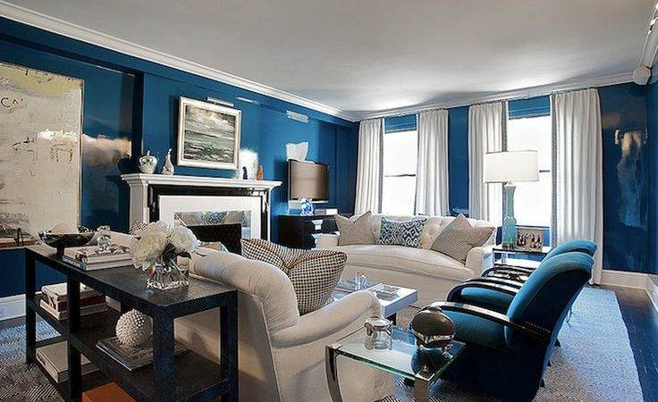 Modern Navy Blue Living Room Designs