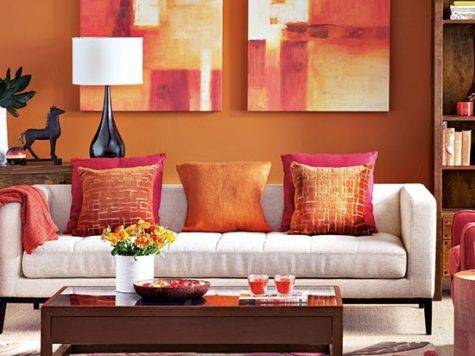 Modern Orange Living Room Decorating Housetohome