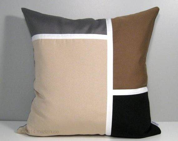 Modern Outdoor Pillow Cover Grey Brown Color